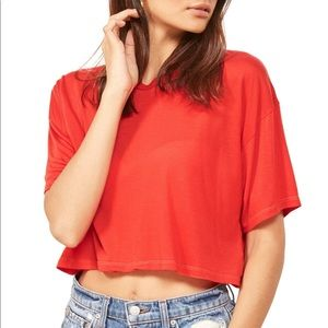 Reformation Gus Tee Cherry Red Cropped T Shirt S